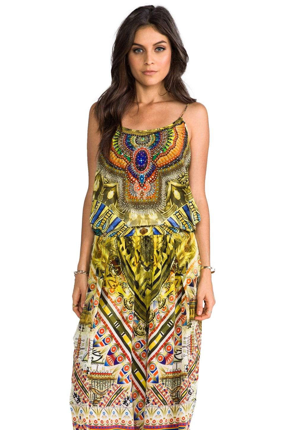 Camilla Sands of Egypt Shoestring Strap Jumpsuit in Eye of Horus