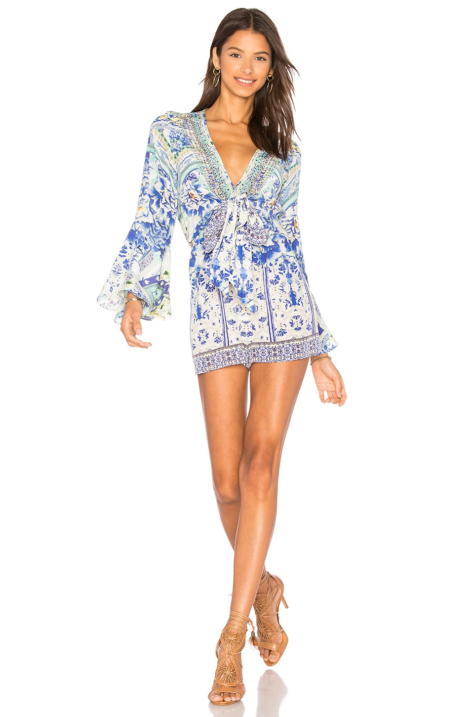 8bc2d685ec028 Camilla Wide Sleeve Tie Front Romper in Porcelain Paradise