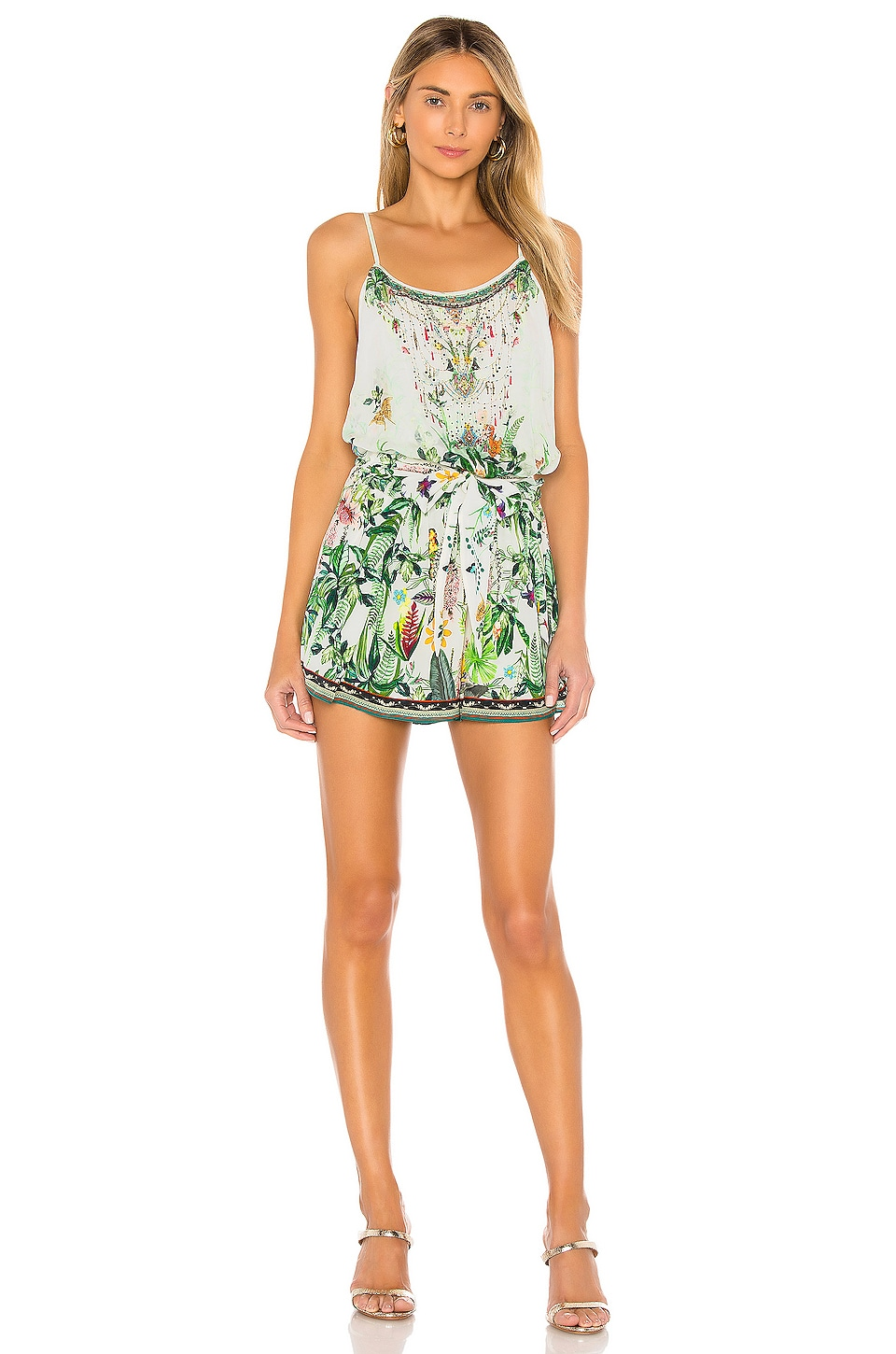 Camilla Shoestring Strap Romper in Daintree Darling