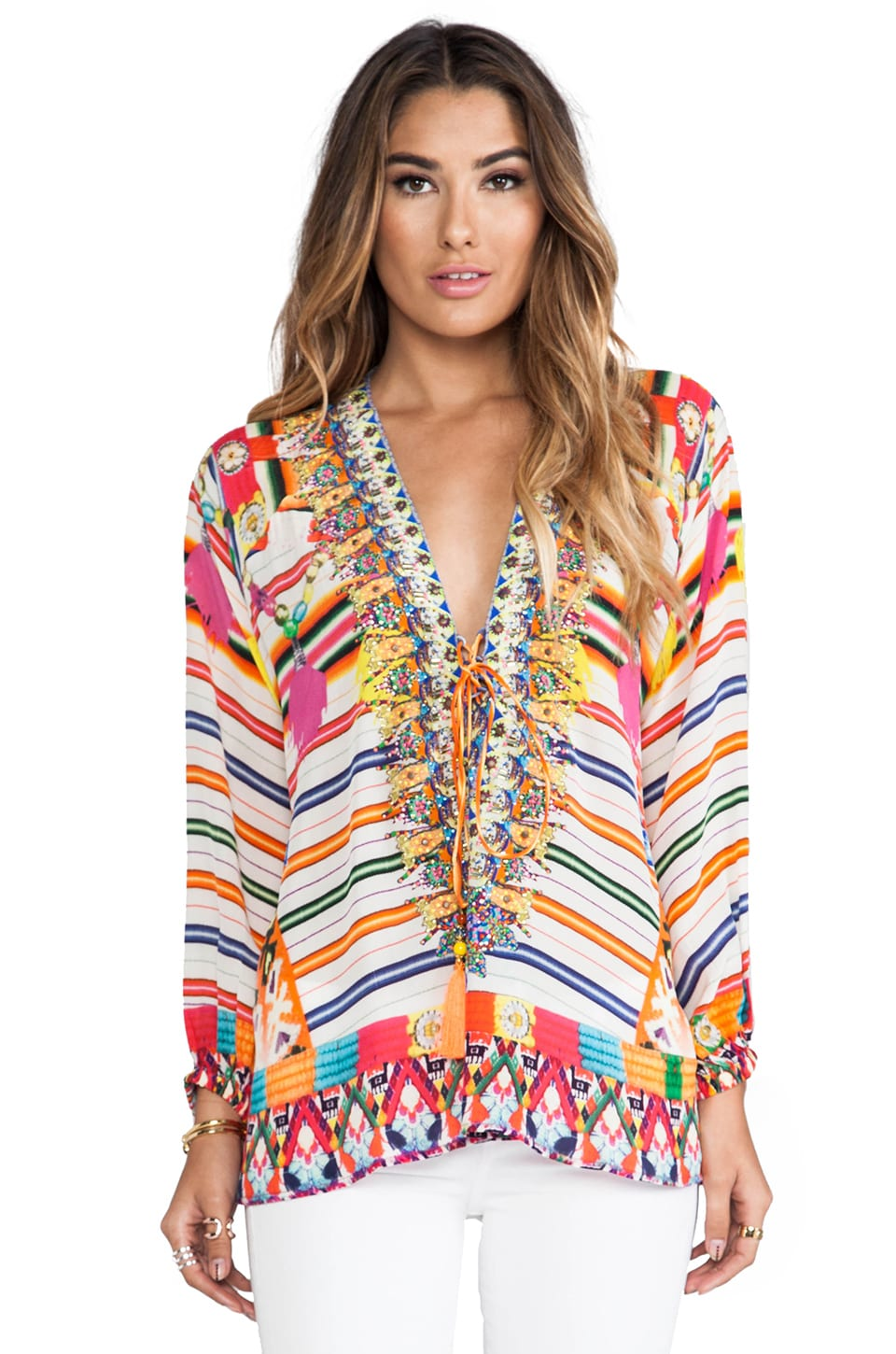 Camilla Lace Up Shirt in Multi