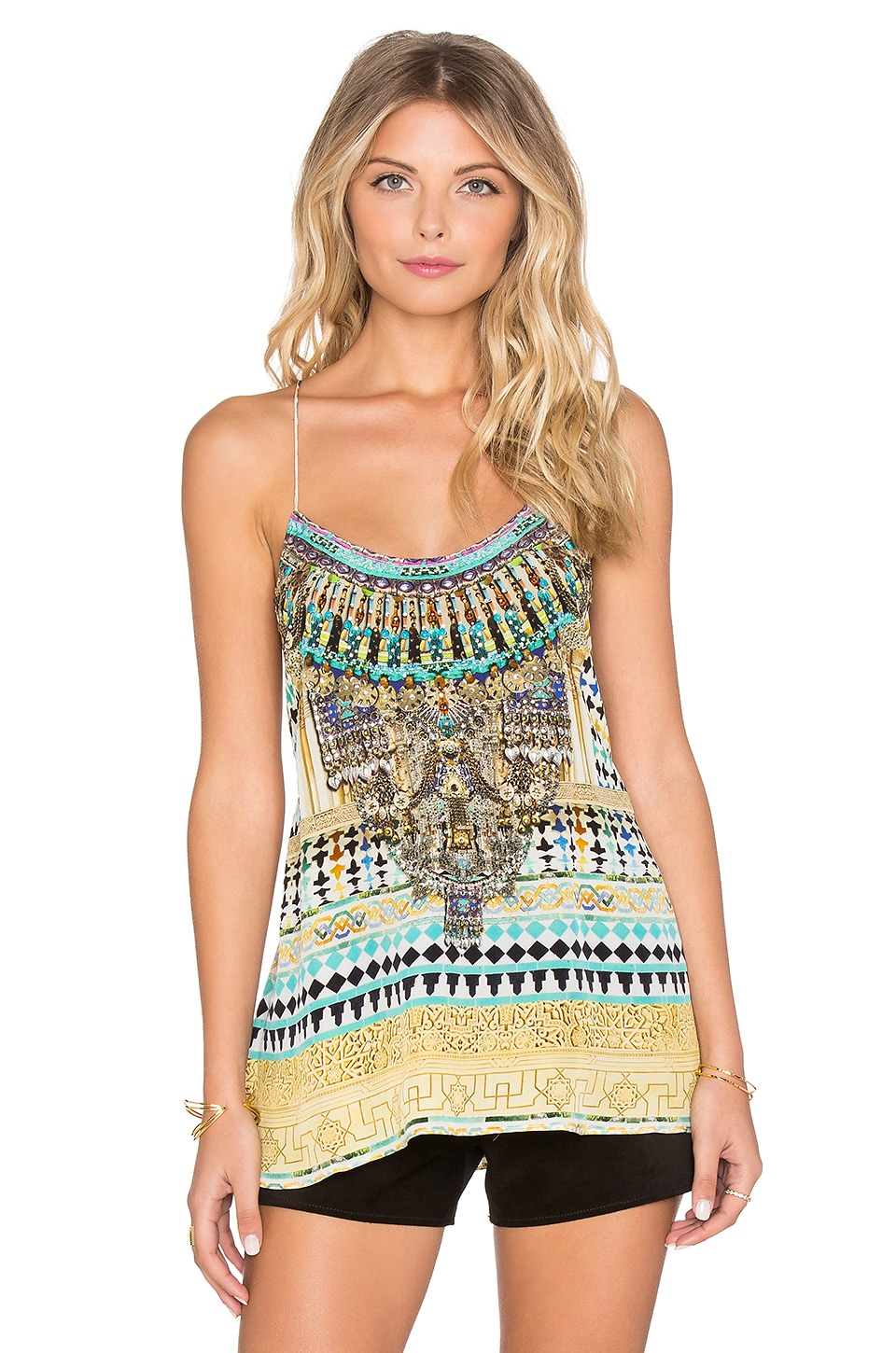 Camilla T-Back Shoestring Strap Tank in Flight of The Arch