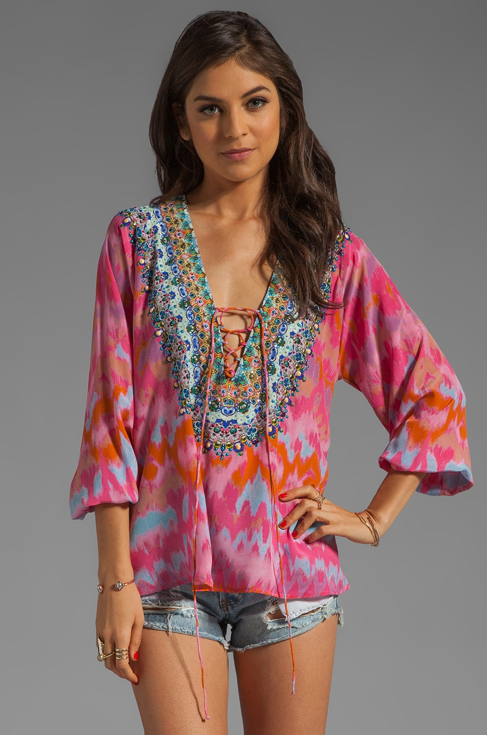 Camilla Lace Up Silk Top in Freida