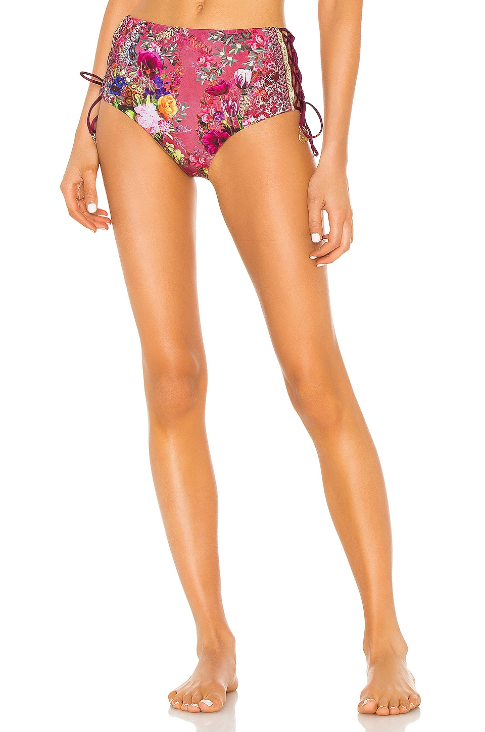 Camilla High Rise Lace Up Bikini Bottom in Palais Rouge