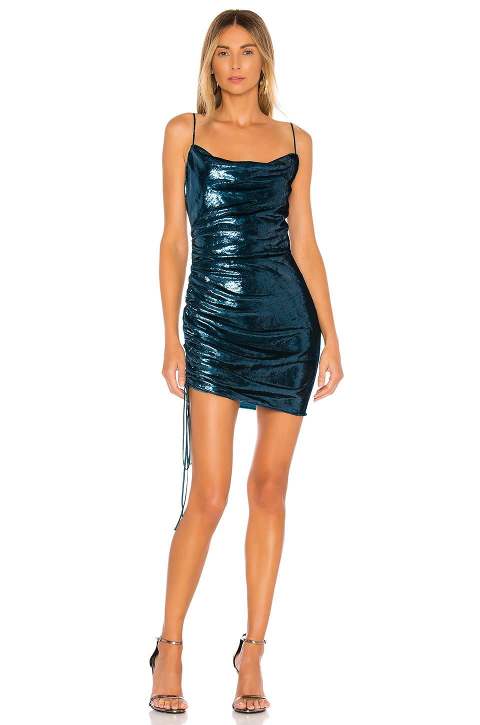 Cinq a Sept Shiny Astrid Dress in Teal Topaz