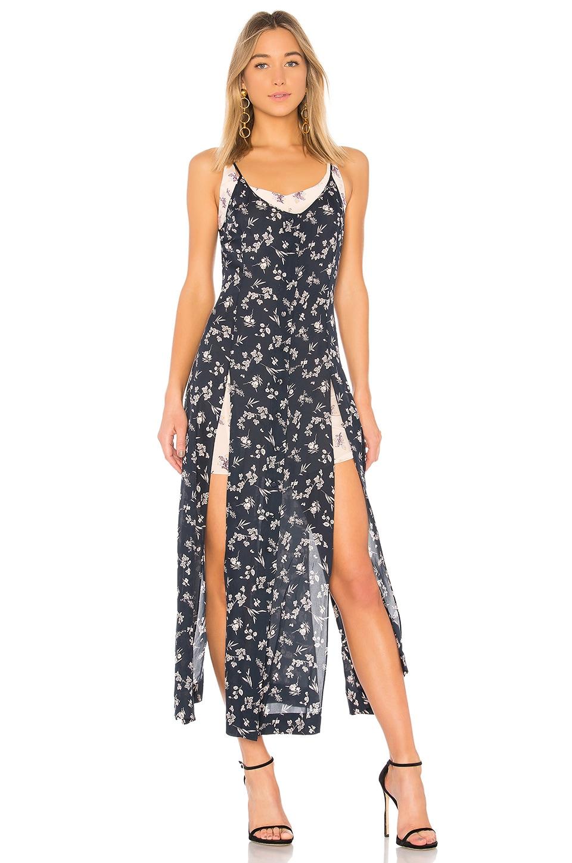 Cinq a Sept Jocelyn Floral Maxi Dress in Navy & Pearl Blush Multi