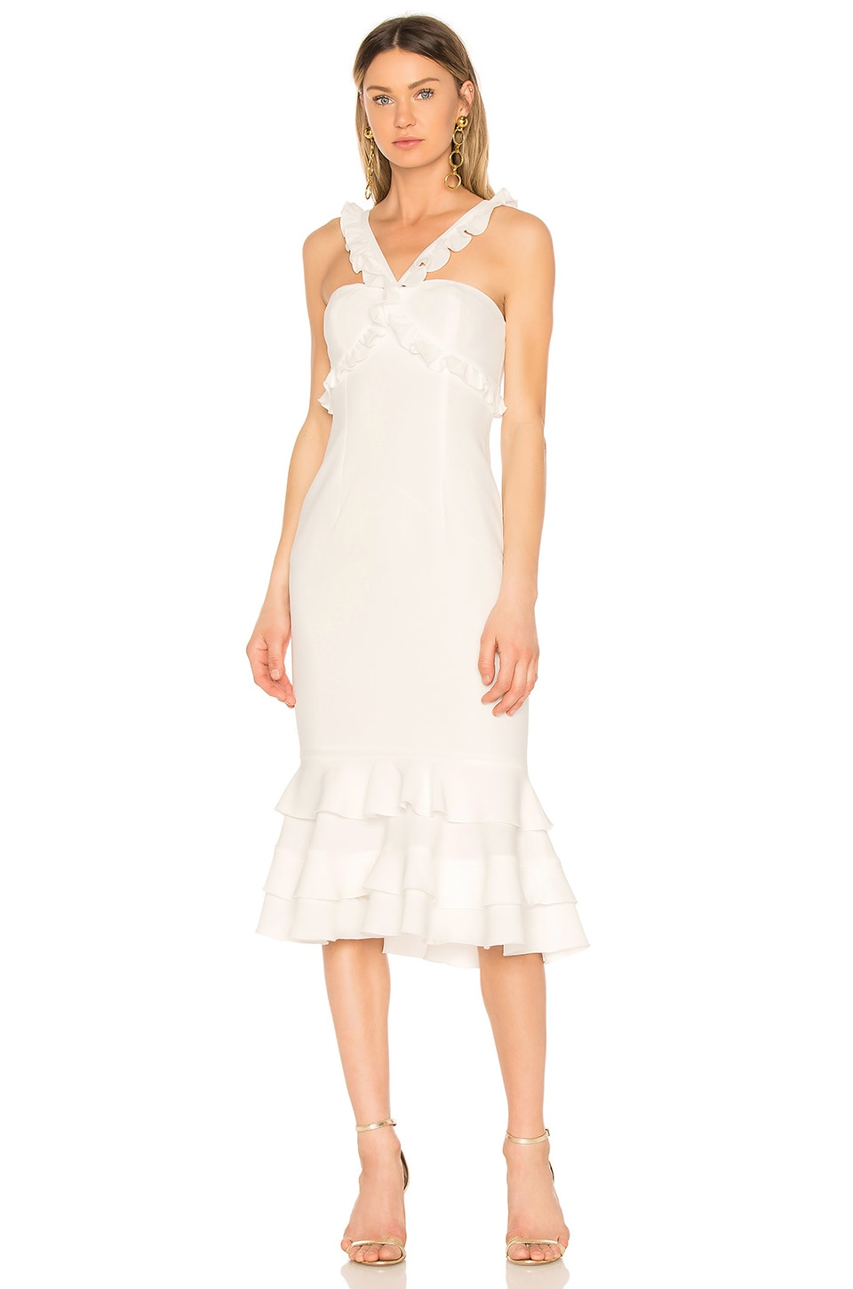 Cinq A Sept Frill Cross Strap Dress - White