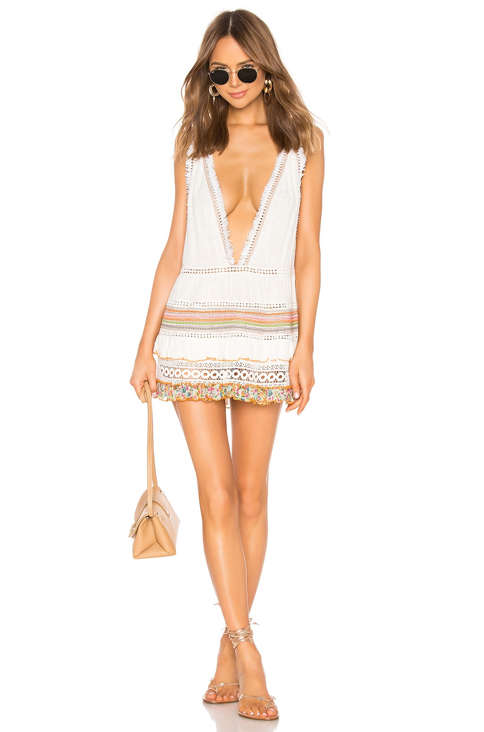 CHIO Multi Macrame and Fringe Dress in Print