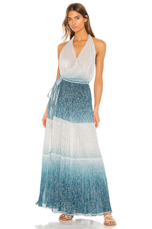 CHIO Maxi Wrap Dress in Blue