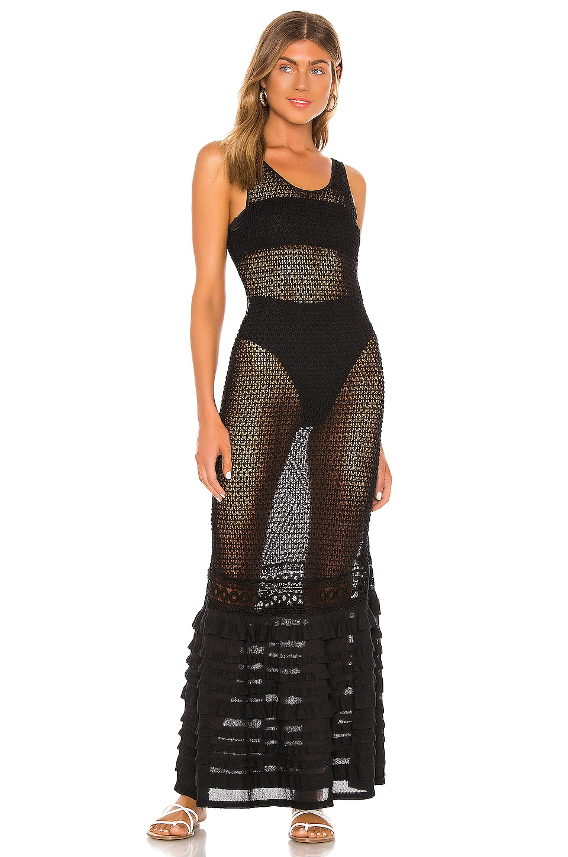 CHIO Long Knit Ruffle Tube Dress in Black