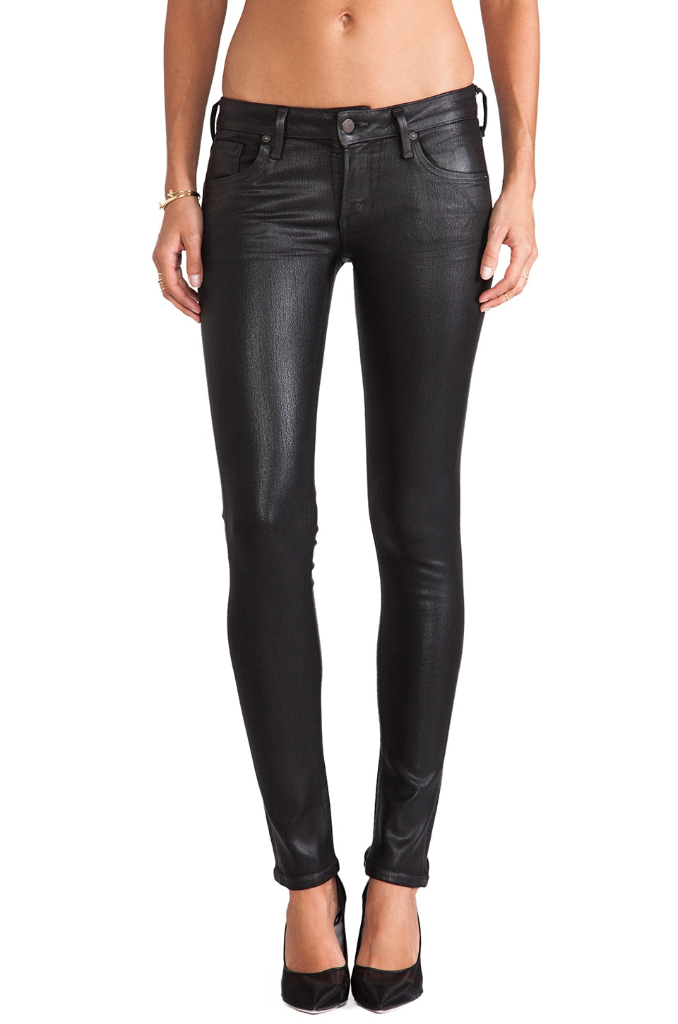 Citizens of Humanity Racer Coated Skinny in Black