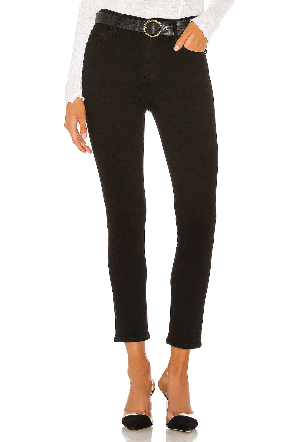 Citizens of Humanity Rocket Crop Mid Rise Skinny in Plush Black