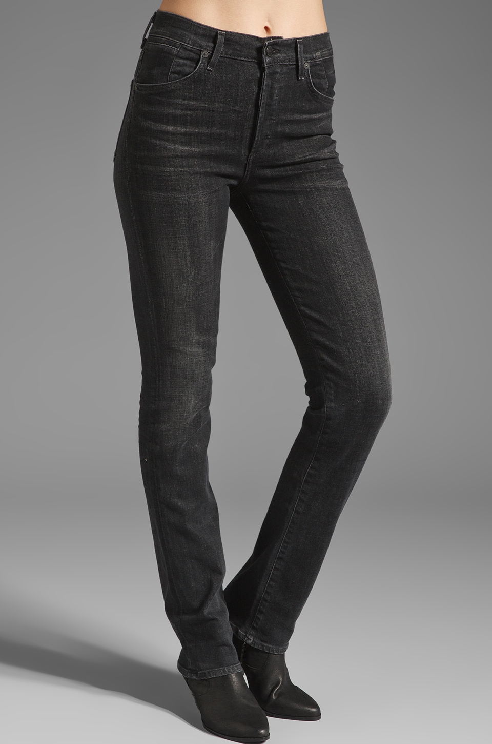 Citizens of Humanity Arley High Waist Straight Leg in Almost Black