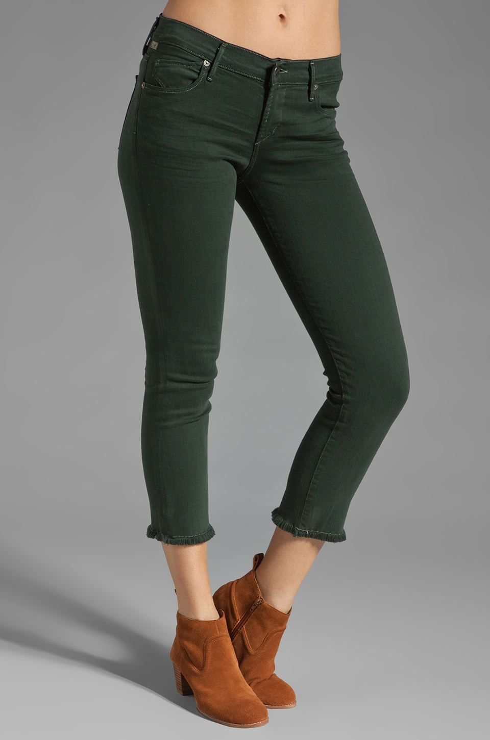Citizens of Humanity Avedon Skinny Cut Off in Jaguar Green