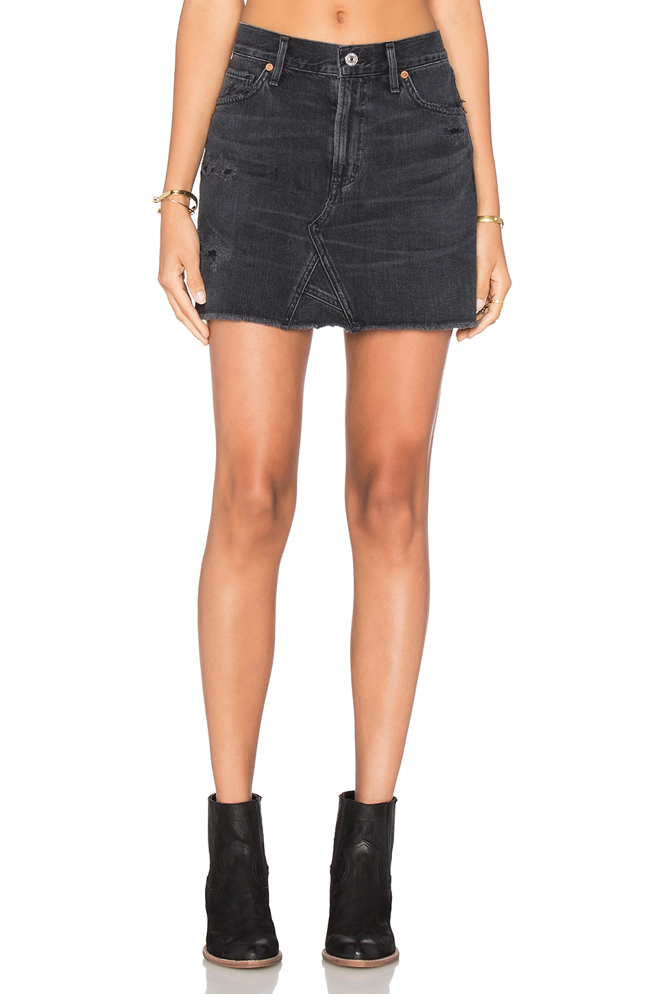 Citizens of Humanity Cut Off Mini Skirt in Black Hawk | REVOLVE