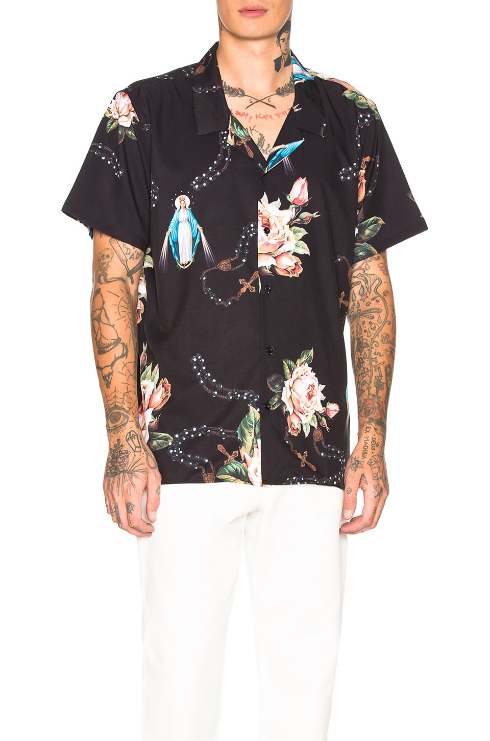 Civil Regime Rosary Short Sleeve Shirt in Black