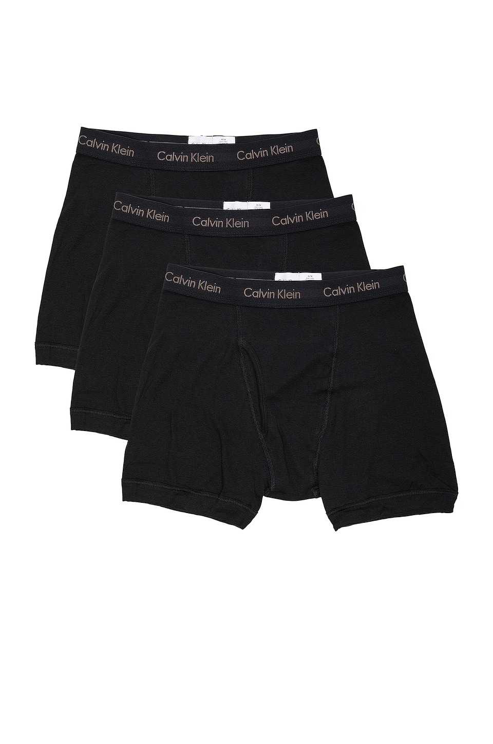 Calvin Klein Underwear Cotton Classics 3 Pack Boxer Briefs & White & Heather Grey in Black