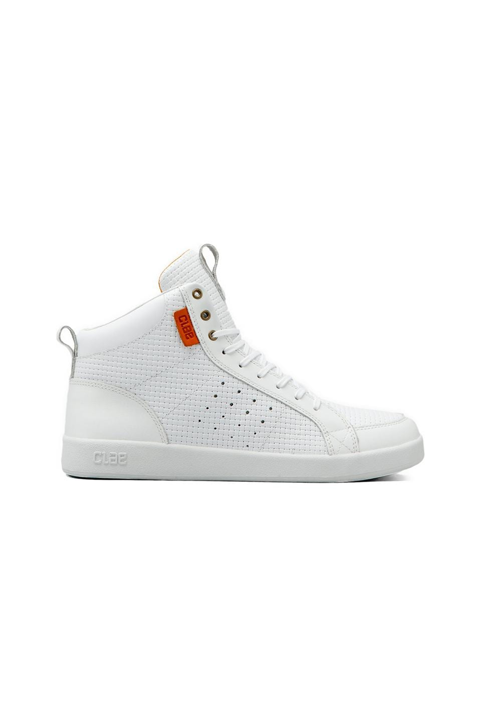 Clae Russell in White Embossed Leather