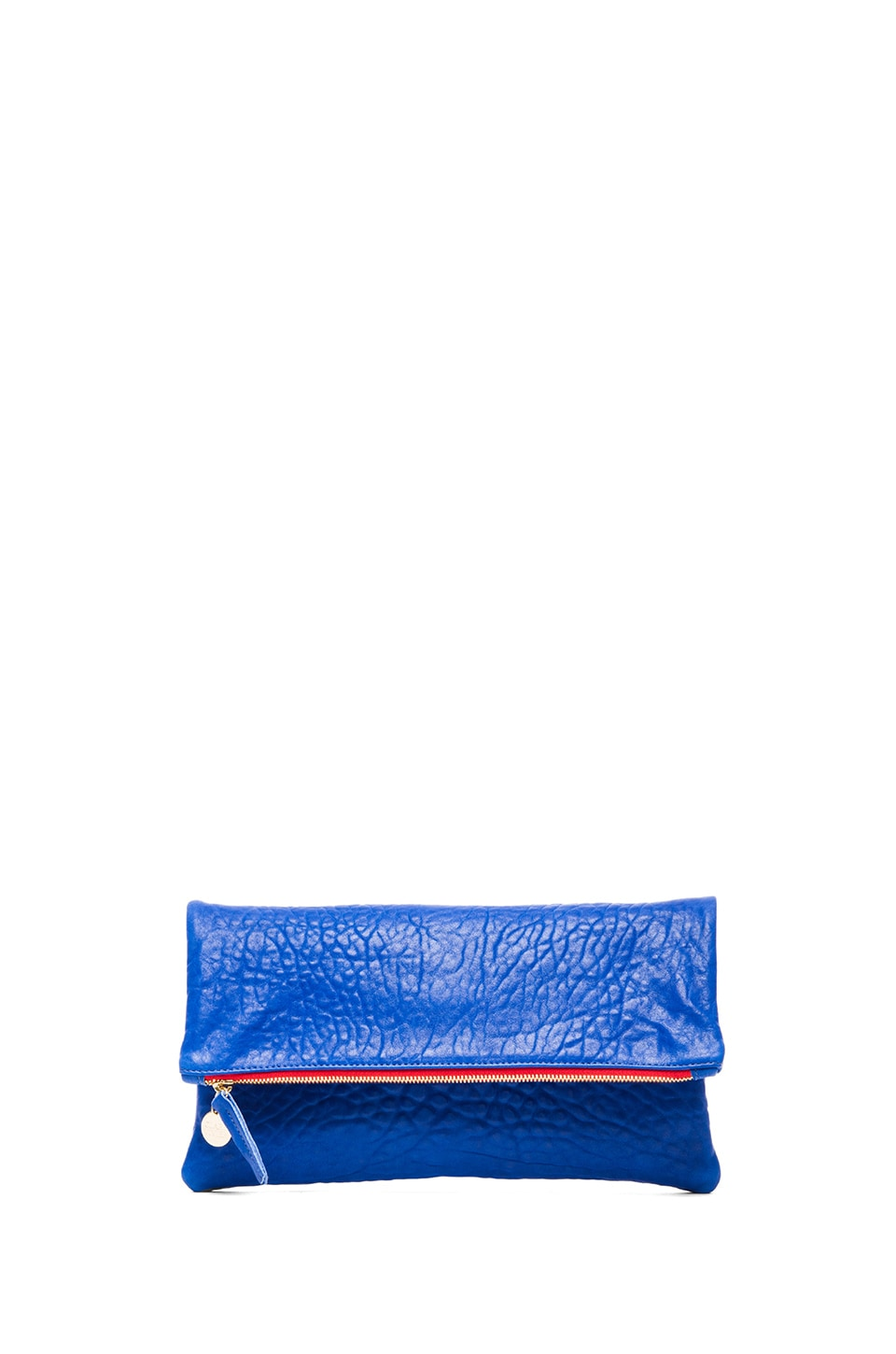 Clare V. Foldover Clutch in Pebbled Blue