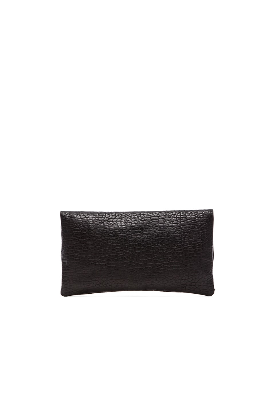Clare V. Foldover Clutch in Pebbled Black