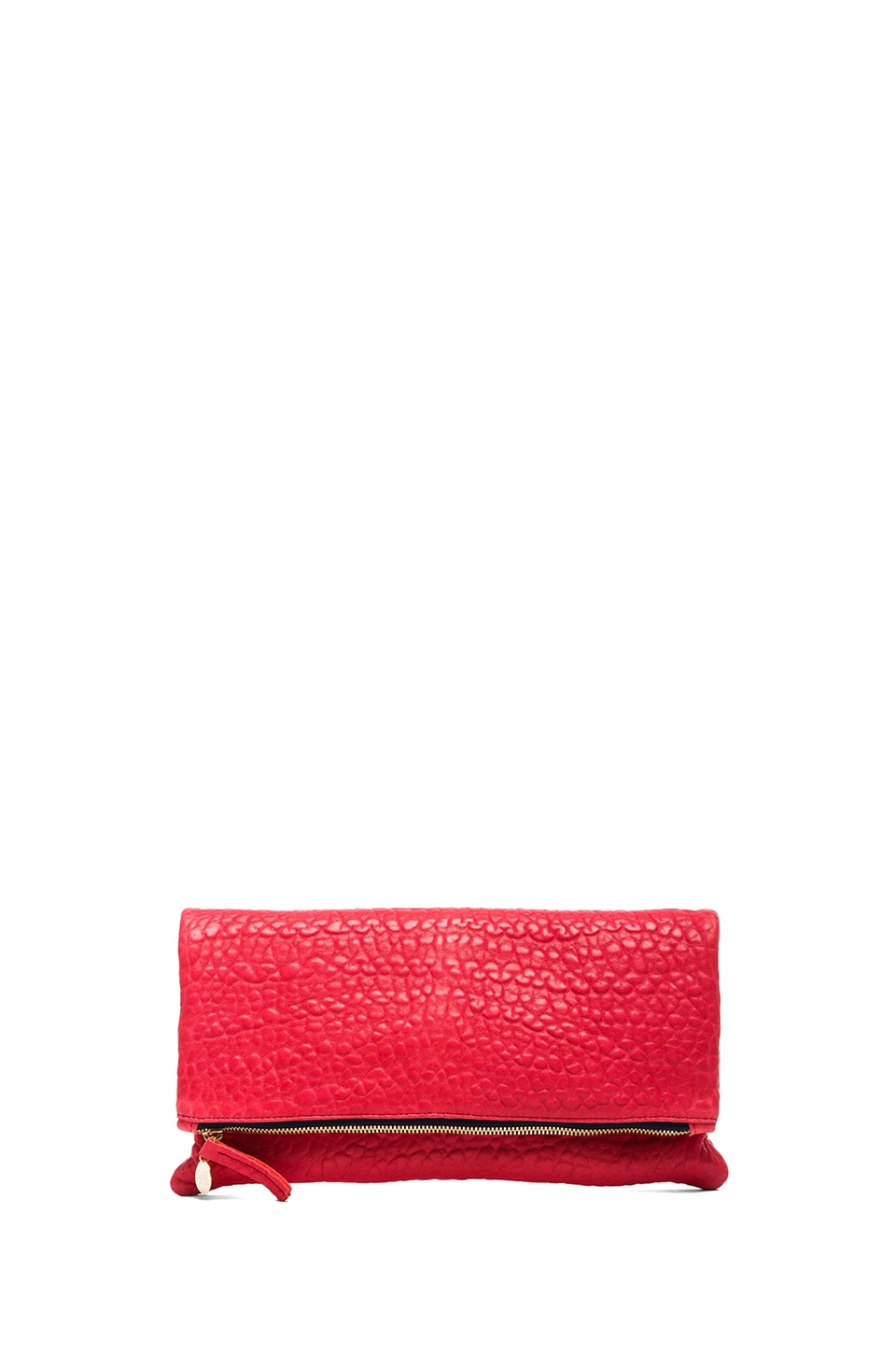 Clare V. Foldover Clutch in Pebbled Red