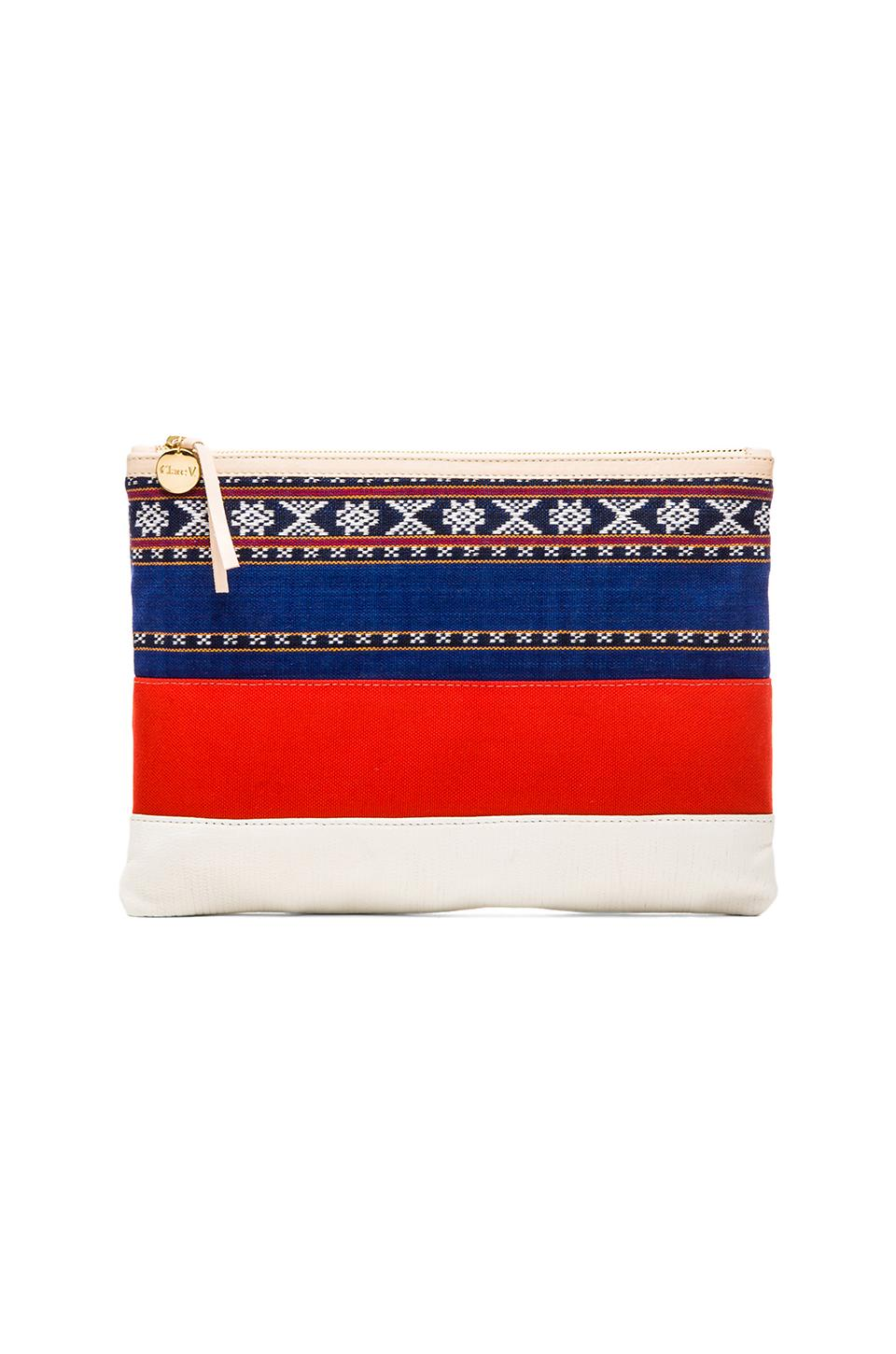 Clare V. Flat Clutch in Mexican Print