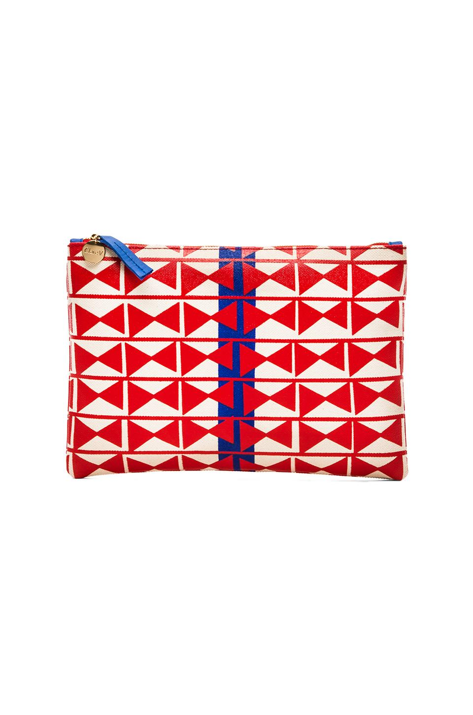 Clare V. Flat Clutch in Red Hour Glass