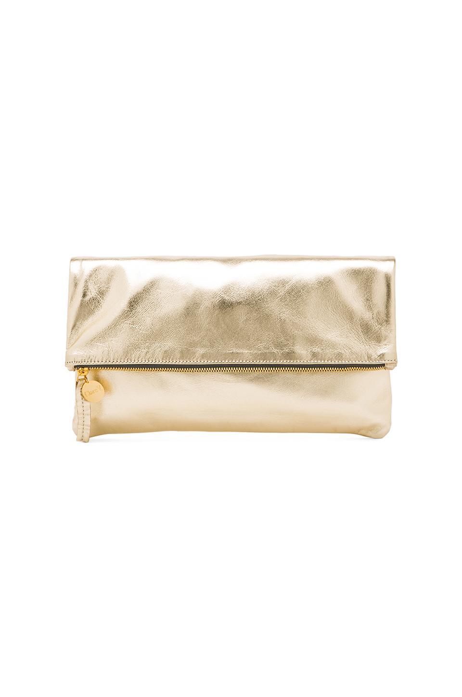 Clare V. Foldover Clutch in Gold