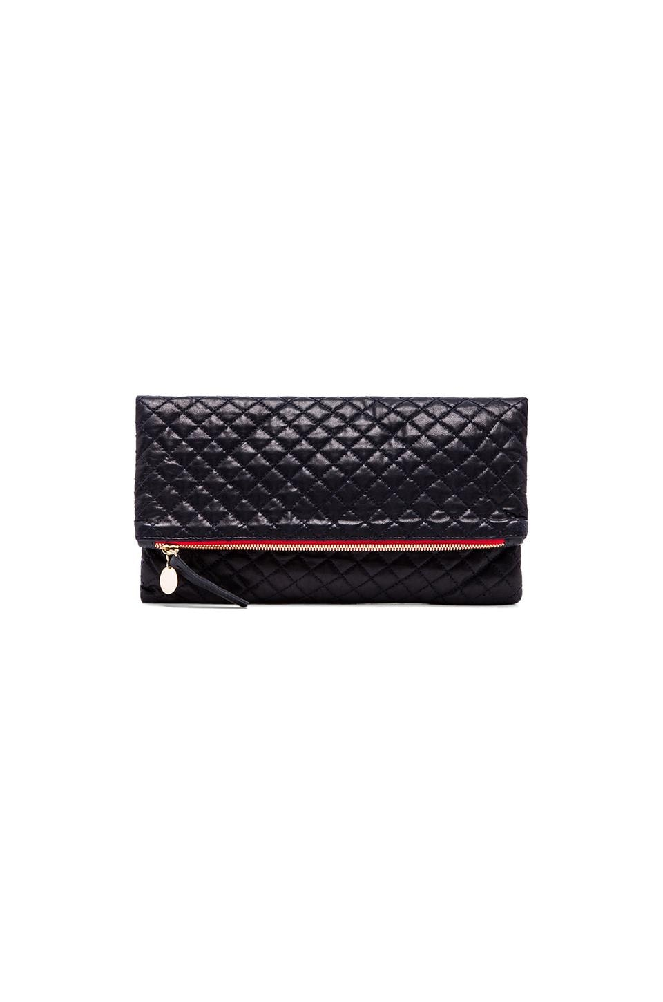 Clare V. Foldover Clutch in Navy Quilted