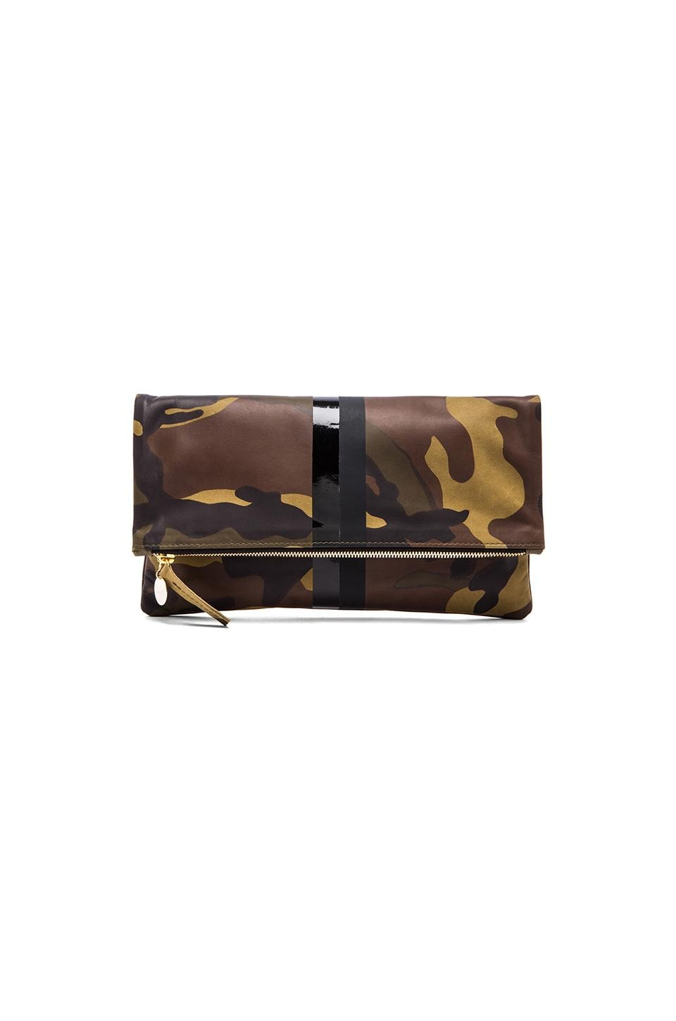 Clare V. Foldover Clutch in Green Camo