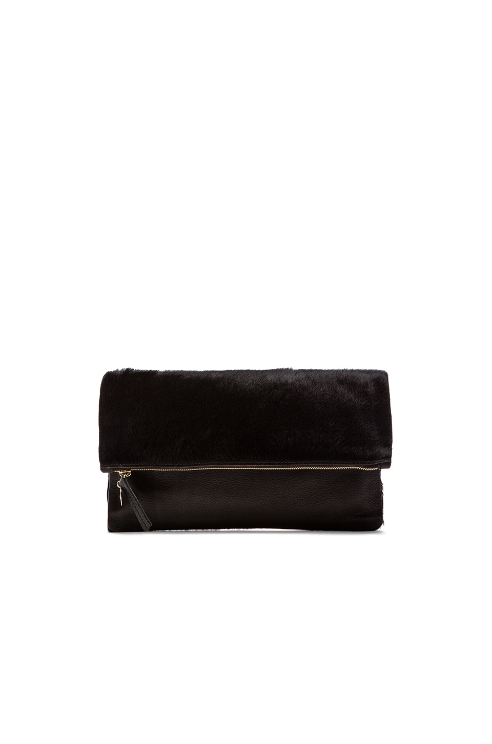Clare V. Foldover Clutch in Black Hair
