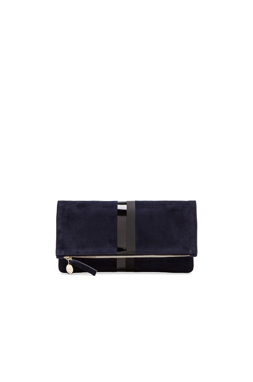 Clare V. Foldover Clutch in Navy Suede