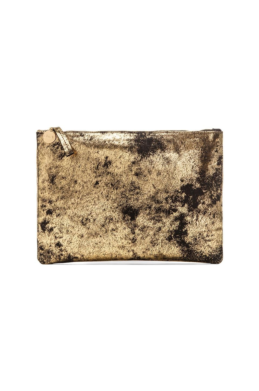 Clare V. Flat Clutch in Black & Gold