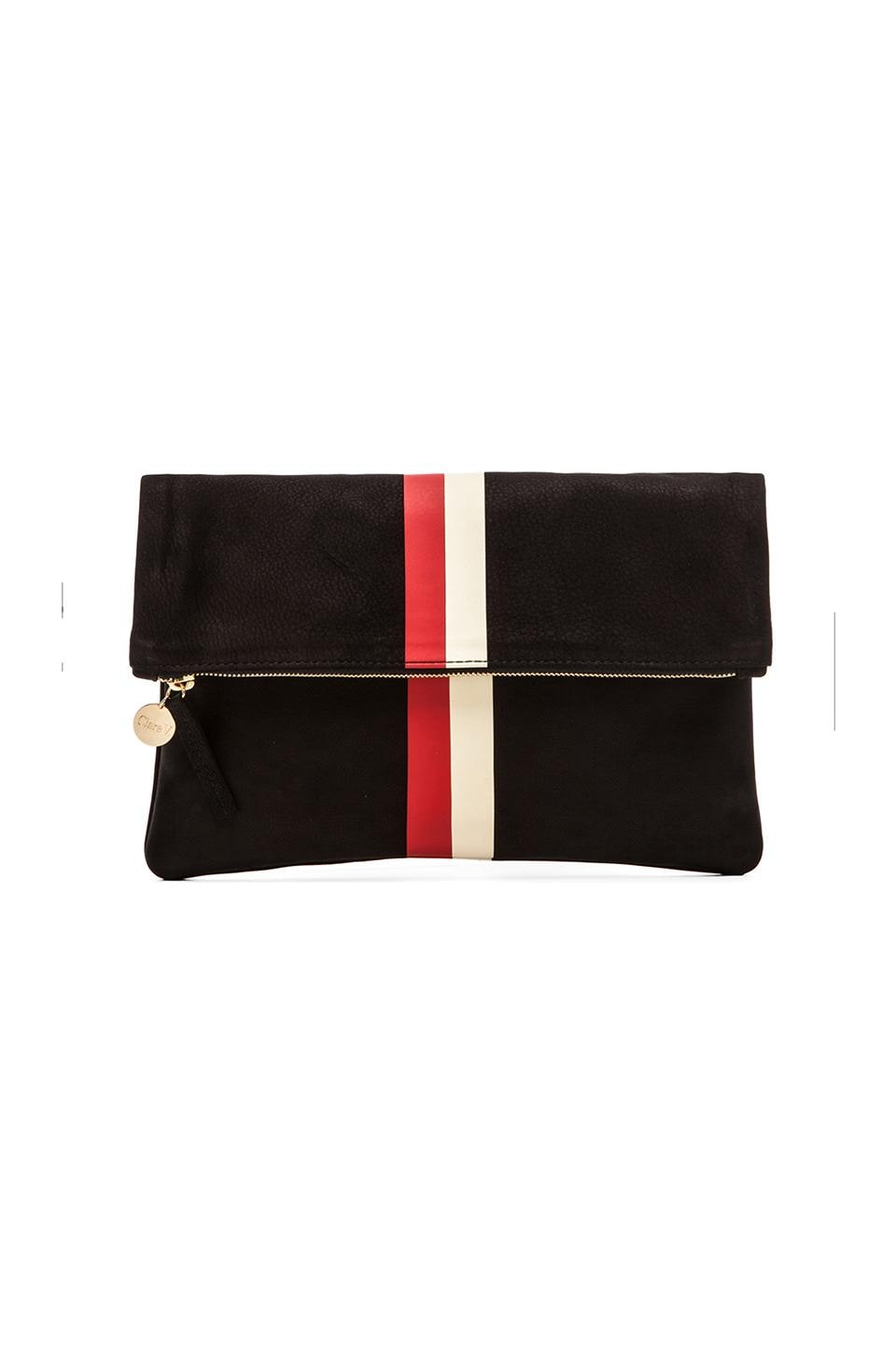 Clare V. Foldover Clutch in Black w/ Red & Cream Stripes
