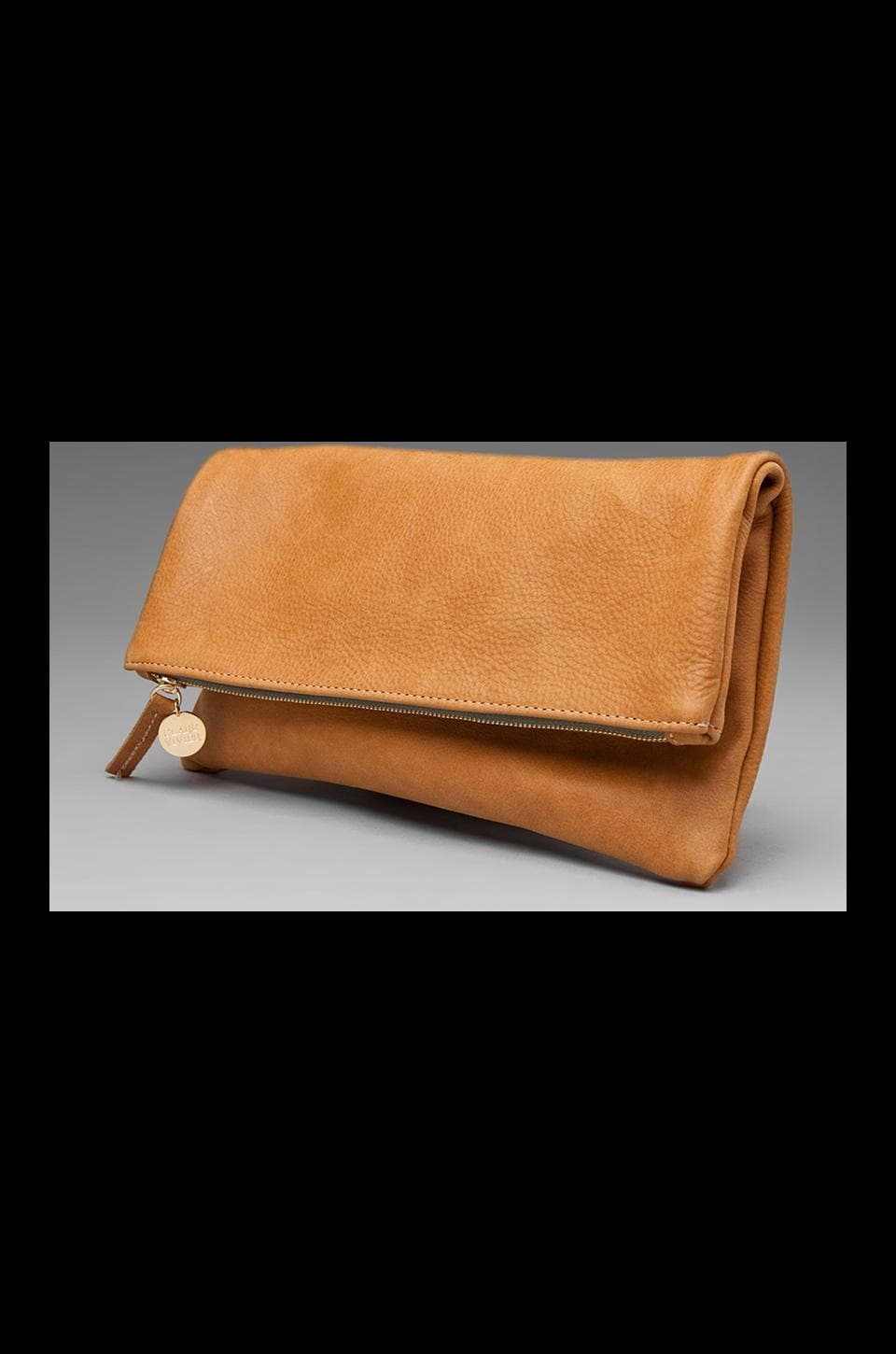 Clare V. Foldover Clutch (green zipper) in Camel