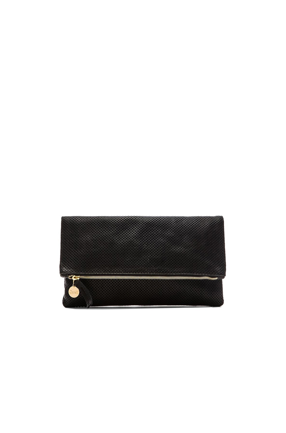 Clare V. Foldover Clutch in Black Perf