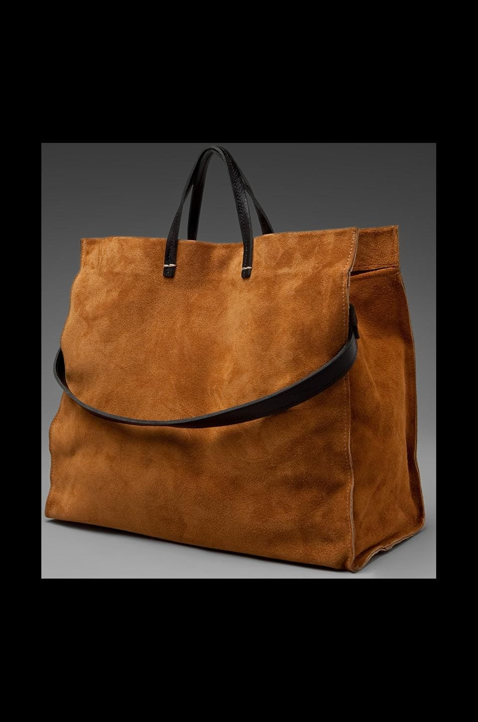 Clare V. Suede Tote in Camel
