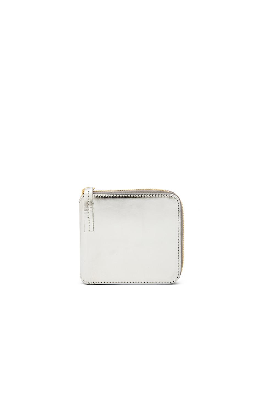 Clare V. Half Zip Wallet in Silver Mirror Argento