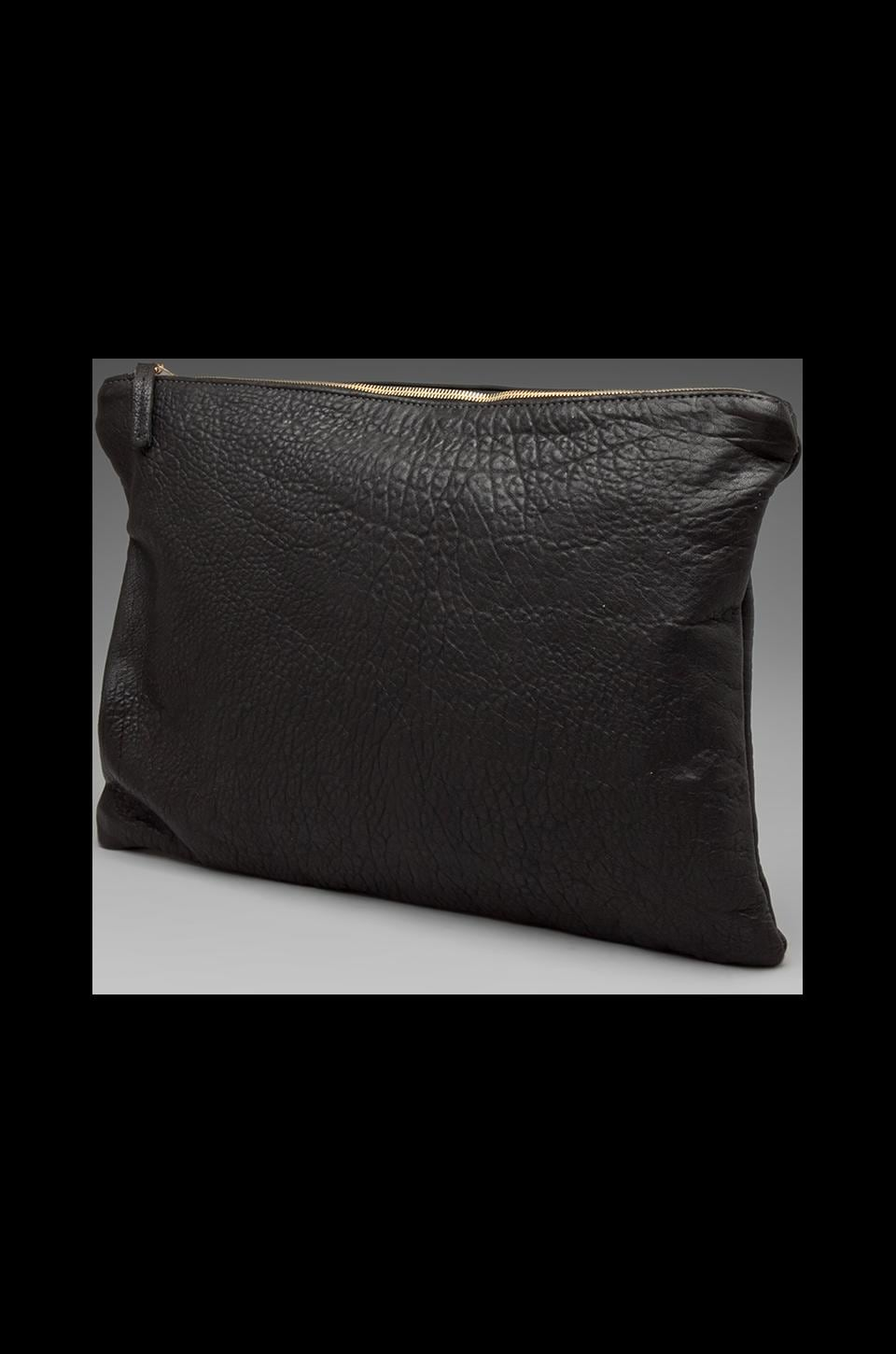 Clare V. Oversized Laptop Clutch in Black Pebble