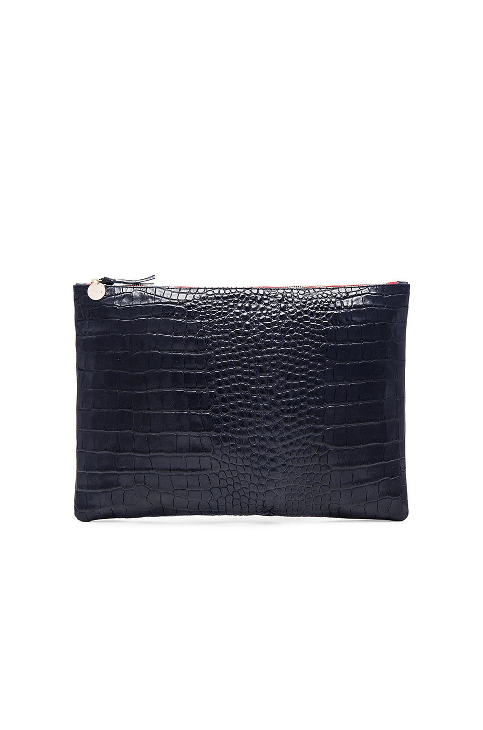 Clare V. Oversize Clutch in Ink Croco