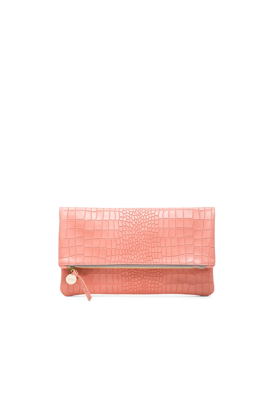 Clare V. Foldover Clutch in Coral Croco
