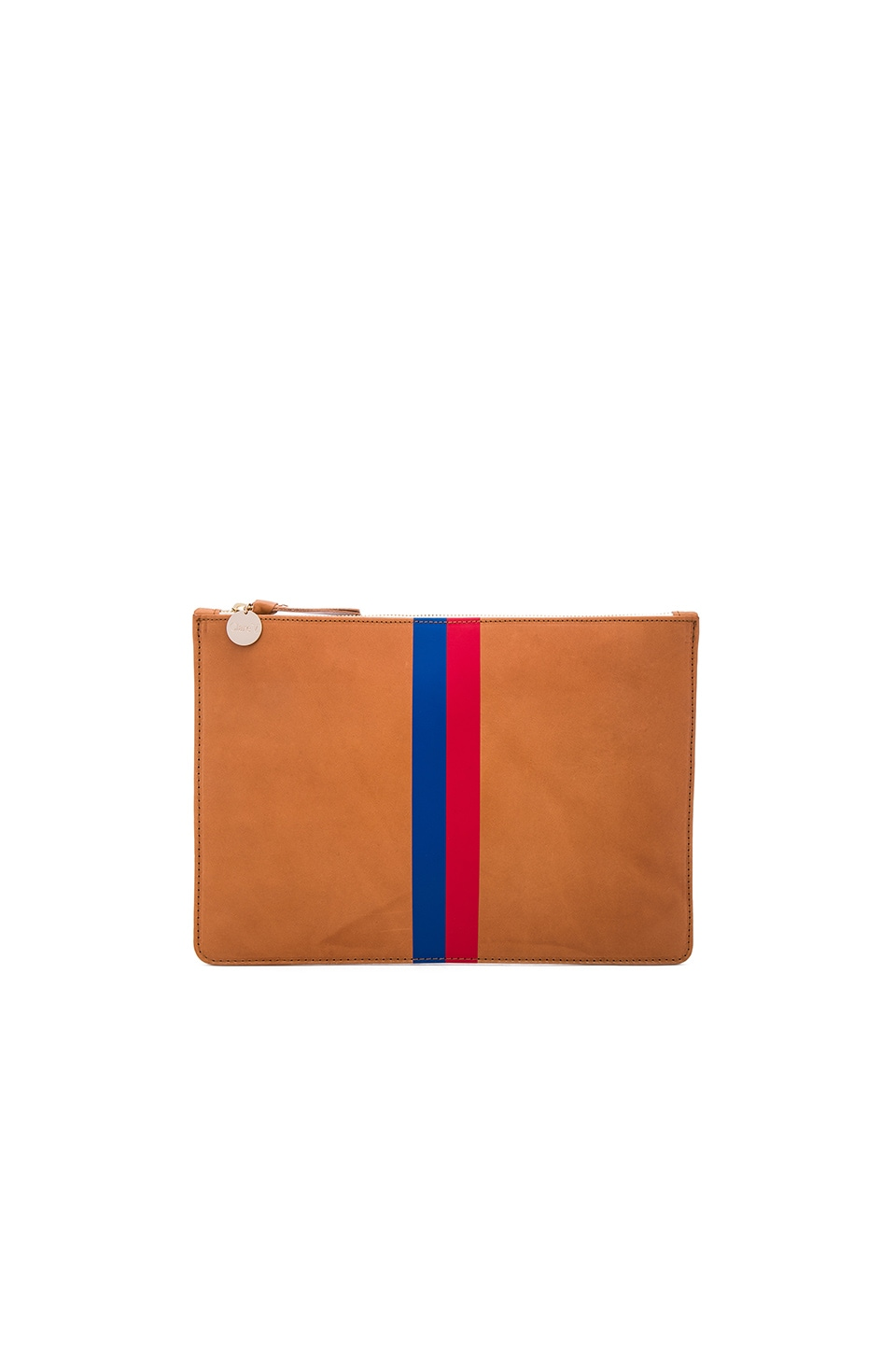 Clare V. Margot Flat Clutch in Cuoio Vachetta, Royal Blue & Red Stripes