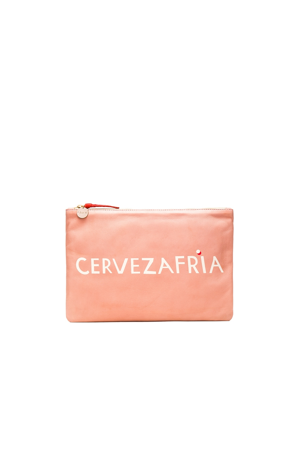 Clare V. Flat Clutch in Blush Nappa & Cream