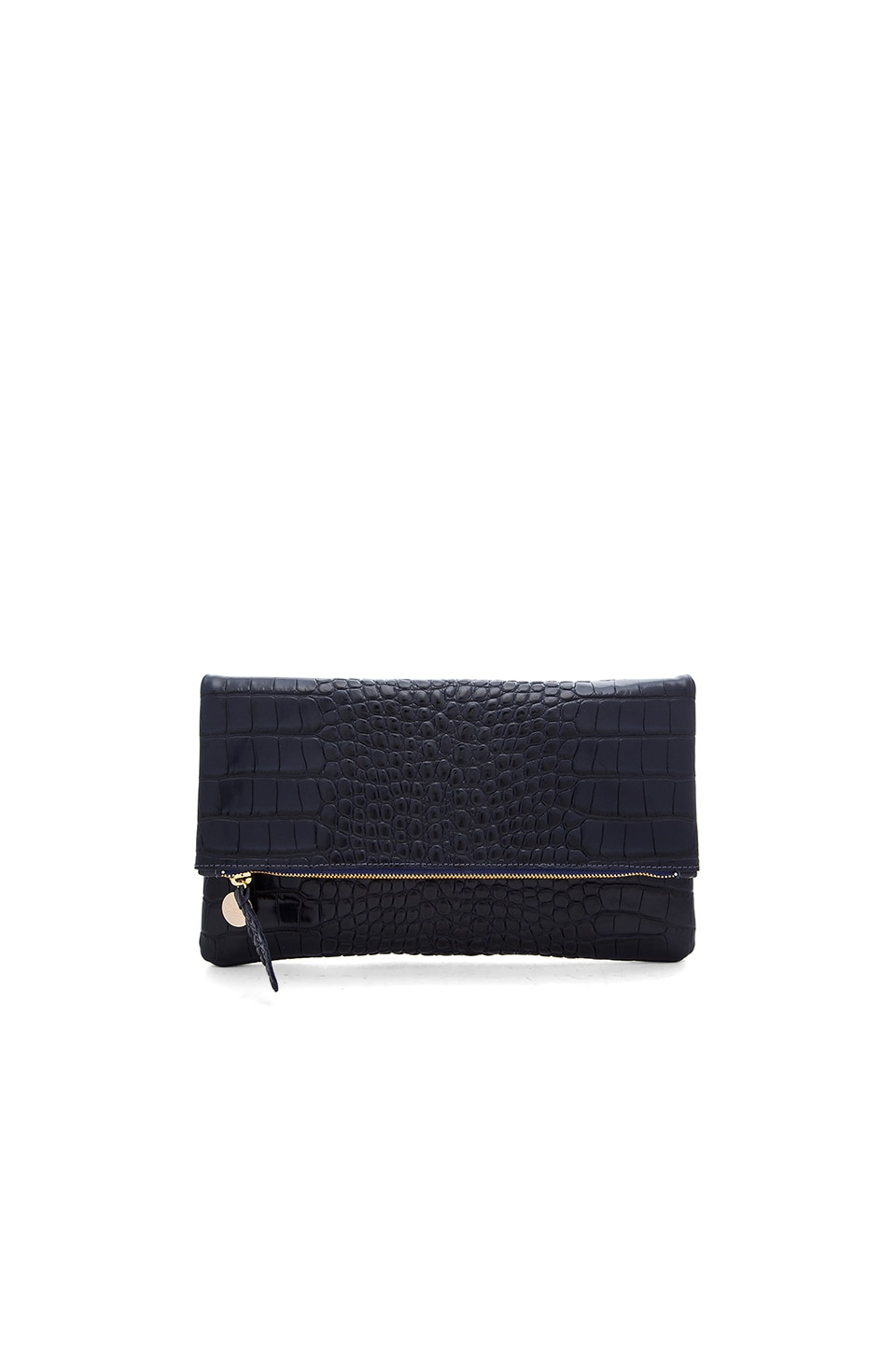 Clare V. Foldover Supreme Clutch in Ink Croco