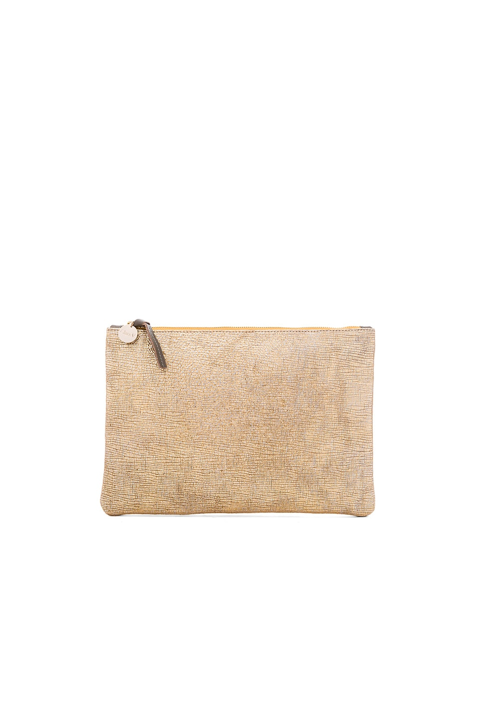 Clare V. Flat Supreme Clutch in Gold Woven