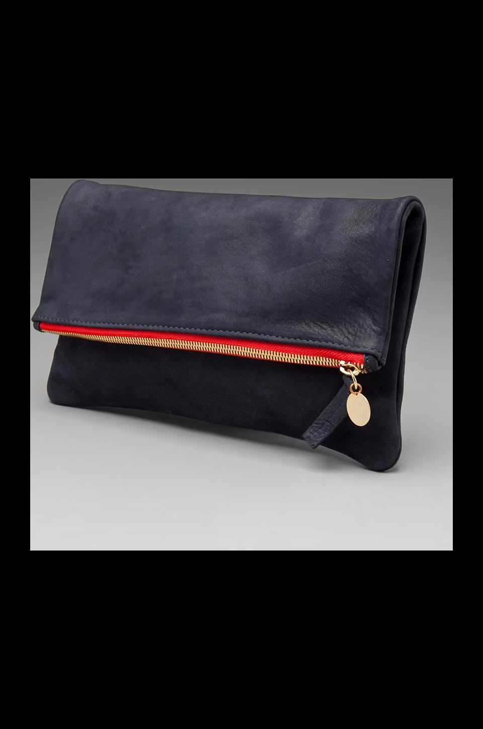 Clare V. Foldover Clutch in Navy/Red