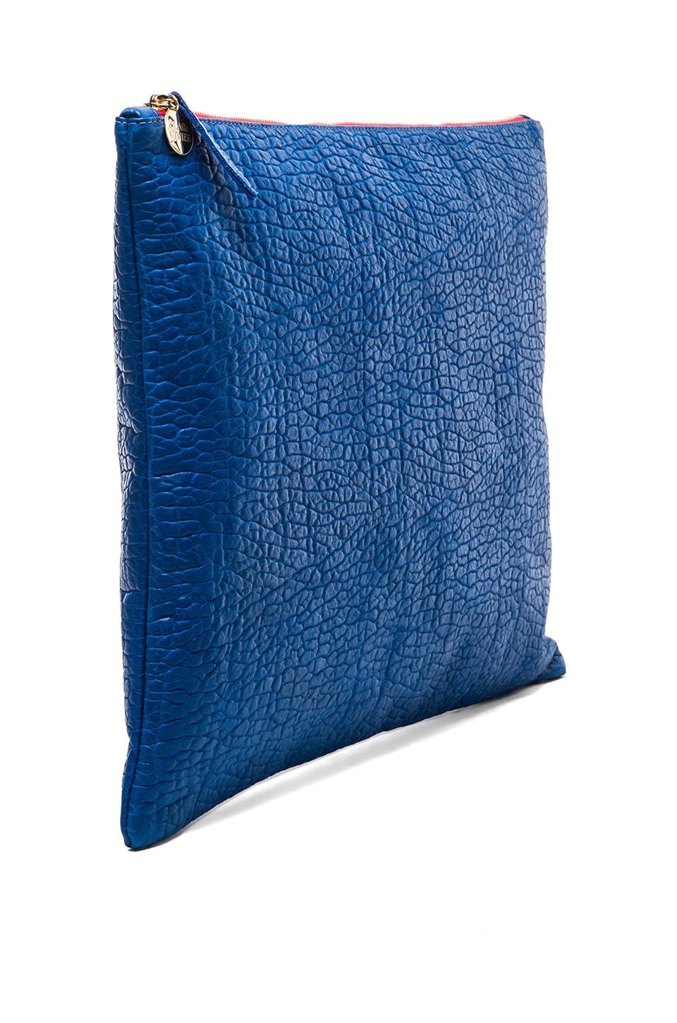 Clare V. Oversized Laptop Clutch in Royal Blue Pebble
