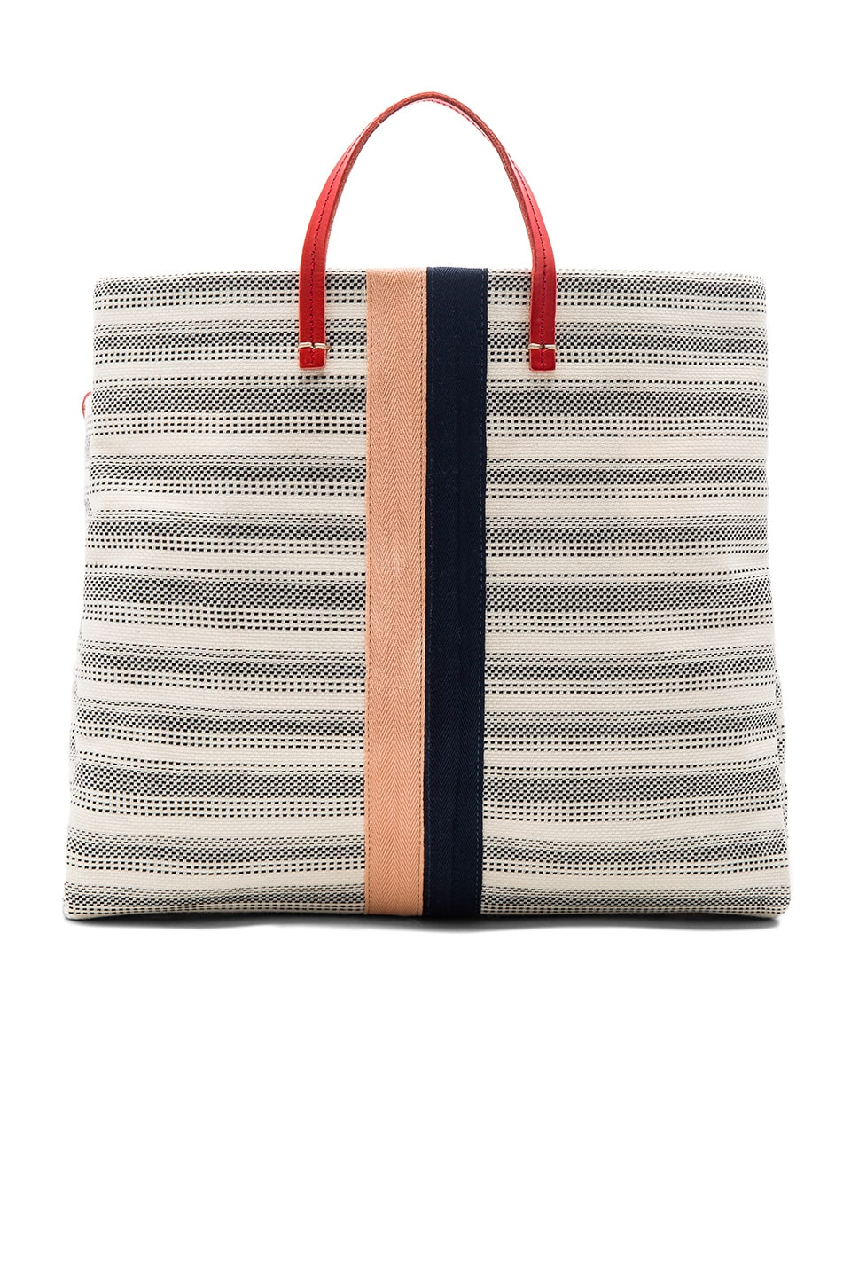 Clare V. Canvas Simple Tote Bag in Navy & Blush