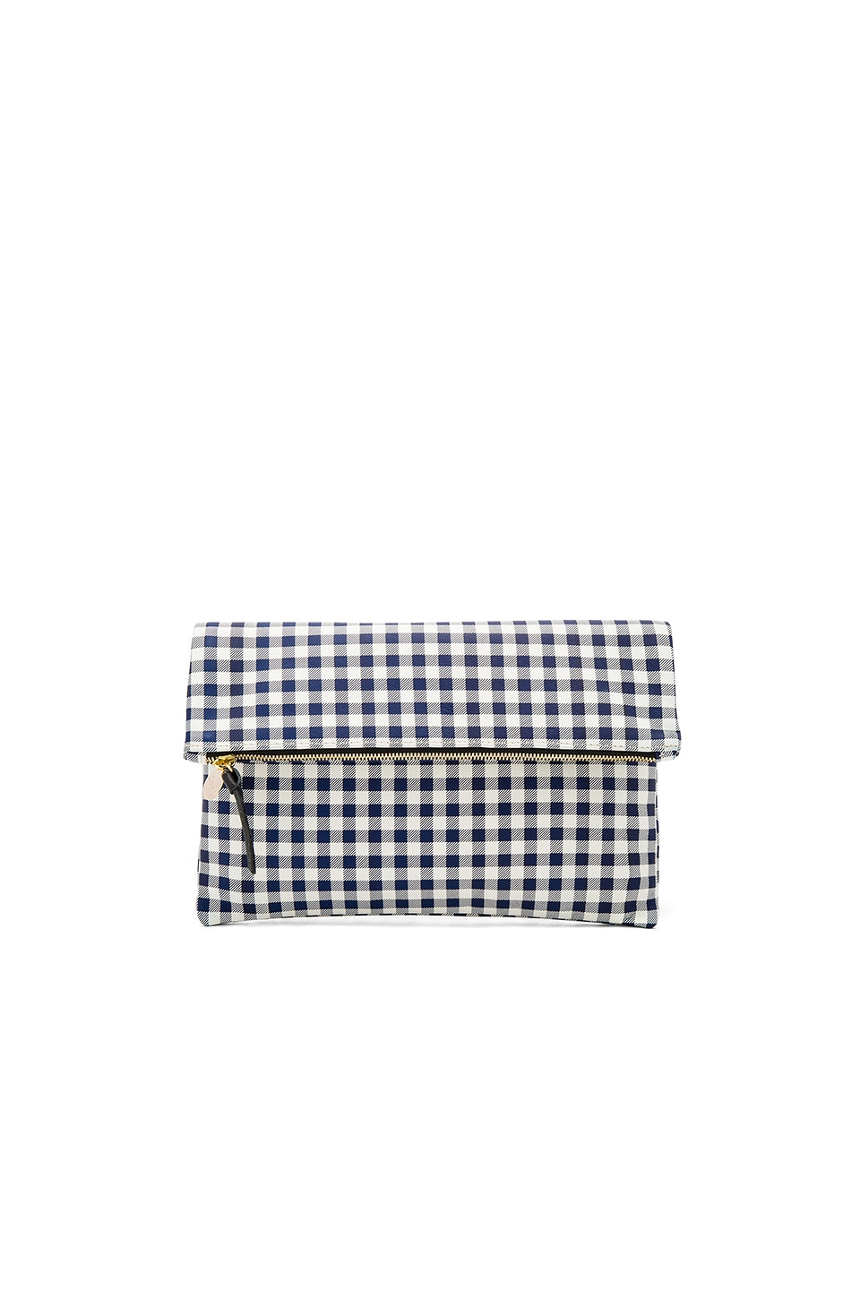 Clare V. Supreme Foldover Clutch in Navy Gingham