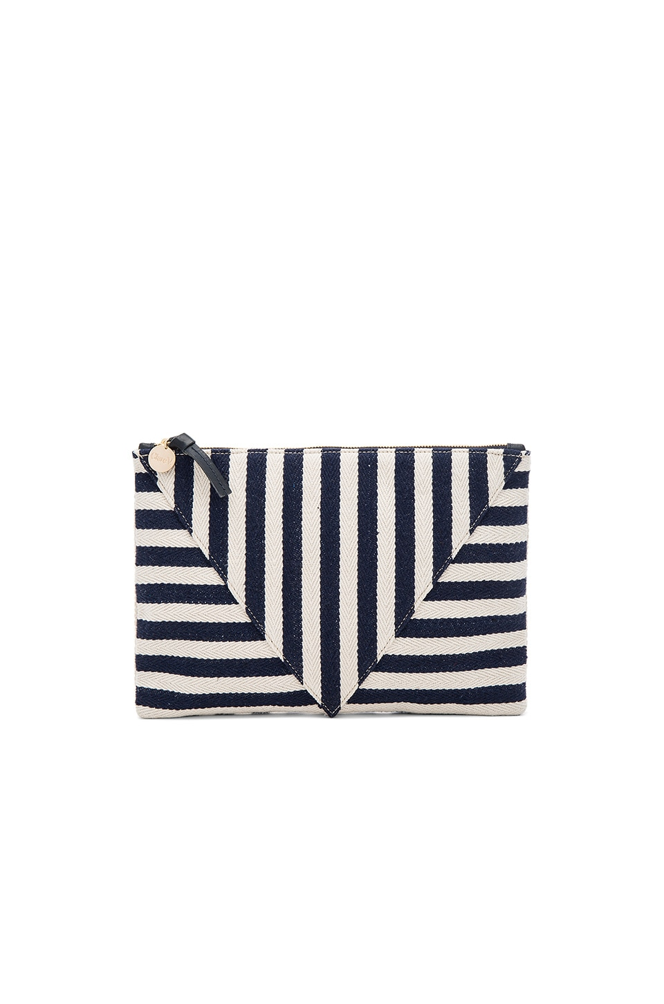 Clare V. Patchwork Flat Clutch in Navy Mariner Stripe