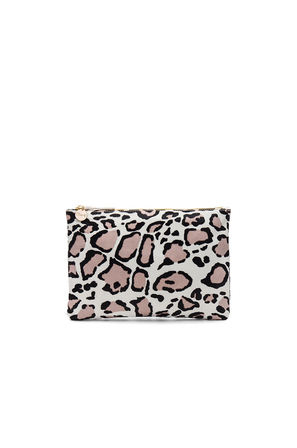 Clare V. Hair On Flat Clutch in Snow Cat